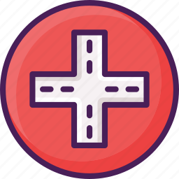 cross, direction, navigation, road, sign, traffic icon
