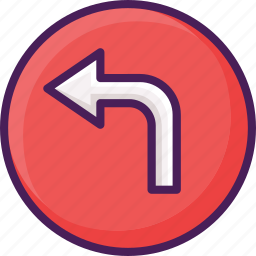 left, navigation, sign, traffic, turn icon