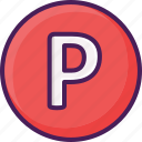 park, parking, sign, street, traffic icon