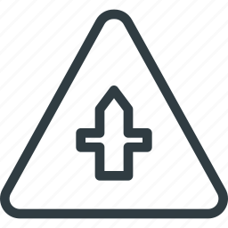 ahead, atention, crossroad, road, sign, traffic icon