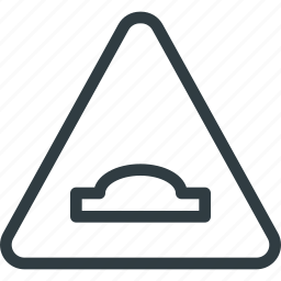 atention, hump, road, sign, traffic icon