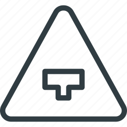 ahead, atention, major, road, sign, traffic icon