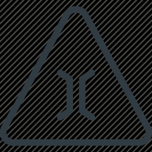 atention, bridge, narrow, road, sign, traffic icon