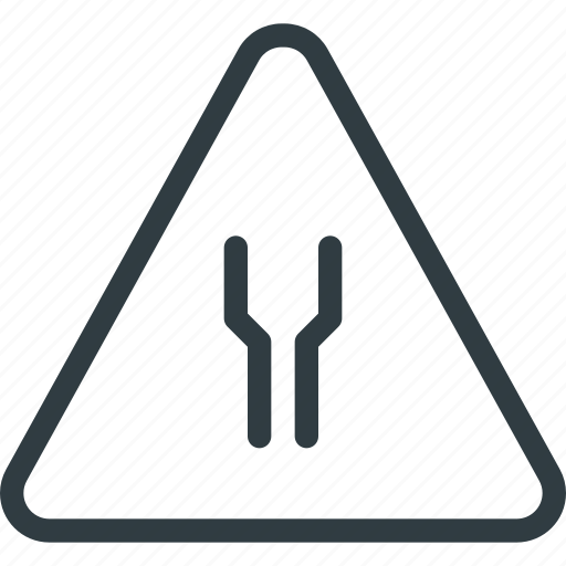 atention, road, sign, traffic, widens icon