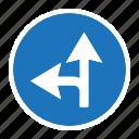 compulsory or left, danger, road, sign, traffic, transportation, warning icon