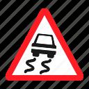 danger, road, sign, slippery, traffic, transportation, warning icon