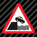 danger, embankment, road, sign, traffic, transportation, warning icon