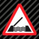 danger, drawbridge, road, sign, traffic, transportation, warning icon