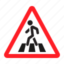 danger, pedestrian crosswalk, road, sign, traffic, transportation, warning icon