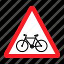 bike, danger, road, sign, traffic, transportation, warning icon