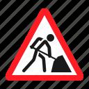 danger, road, road works, sign, traffic, transportation, warning icon