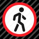 danger, no pedestrians, road, sign, traffic, transportation, warning icon