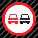 danger, overtaking, road, sign, traffic, transportation, warning icon