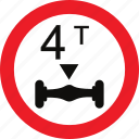 axle, limit, regulatory, sign, traffic sign, weight icon