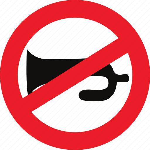 horn, prohibited, regulatory, sign, traffic sign icon