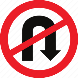no u turn, regulatory, traffic sign, u turn icon
