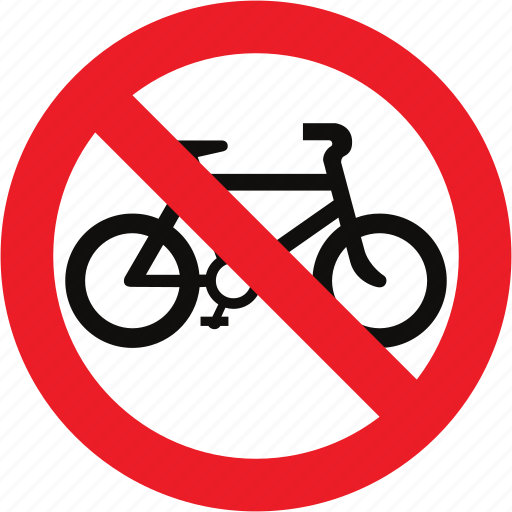 bicycles, no, regulatory, sign, traffic sign icon