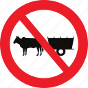 bullock, carts, no, regulatory, sign, traffic sign icon