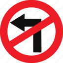 left, no, regulatory, sign, traffic sign, turn icon