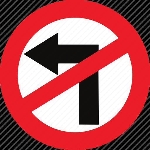 left, no, regulatory, sign, traffic sign, turn icon