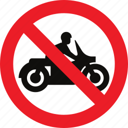 motorcycles, no, regulatory, sign, traffic sign icon