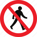 no, pedestrians, regulatory, sign, traffic sign icon