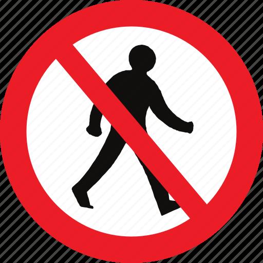 no, pedestrians, regulatory, sign, traffic sign icon