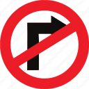 no, regulatory, right, sign, traffic sign, turn icon