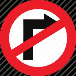 no, regulatory, right, sign, traffic sign, turn icon