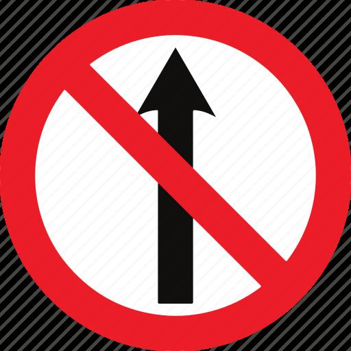 ahead, no, regulatory, straight, traffic sign icon