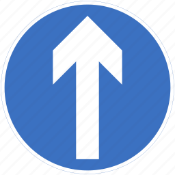 ahead, proceed, regulatory, straight, traffic sign icon