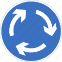 regulatory, roundabout, sign, traffic sign icon