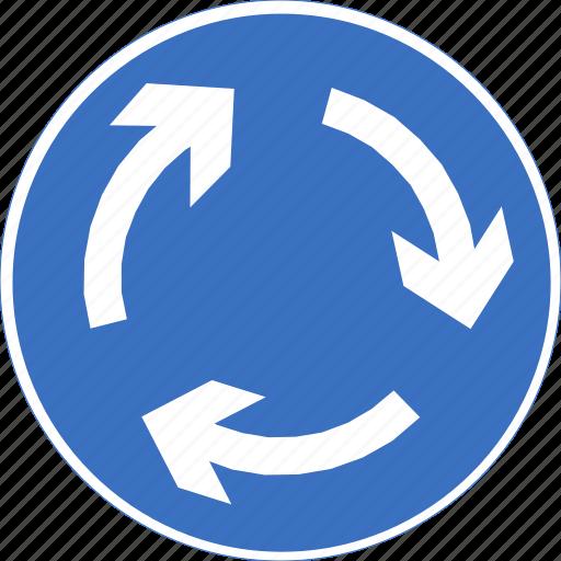 regulatory, roundabout, sign, traffic sign icon