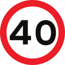 limit, regulatory, sign, speed, traffic sign icon