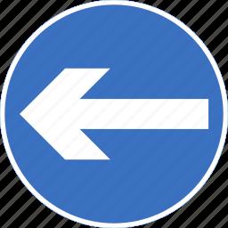 left, regulatory, sign, traffic sign, turn icon