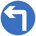 ahead, left, regulatory, sign, traffic sign, turn icon