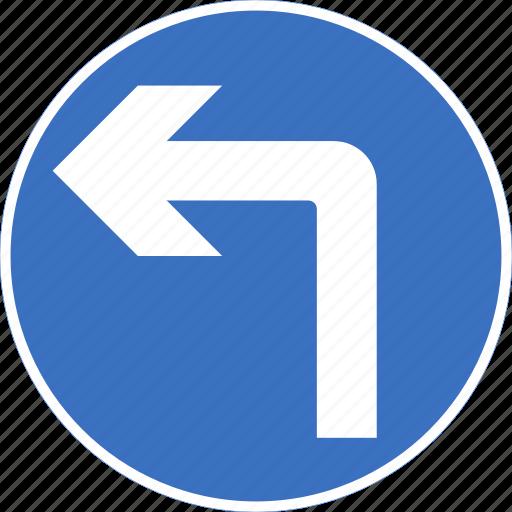 ahead, left, regulatory, sign, traffic sign, turn icon