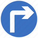 ahead, regulatory, right, sign, traffic sign, turn icon