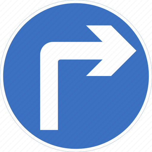ahead, regulatory, right, sign, traffic sign, turn icon