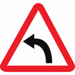 curve, left, sign, warning icon