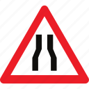 narrow, road, sign, warning icon
