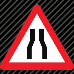narrow, road, sign, warning icon
