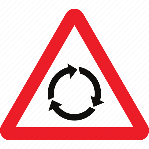 ahead, roundabout, sign, warning icon