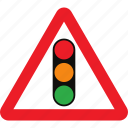 ahead, sign, signals, traffic, warning icon