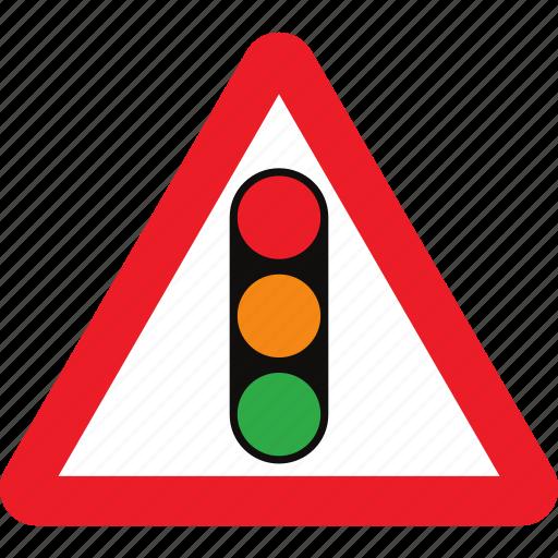 ahead, sign, signals, traffic, warning icon