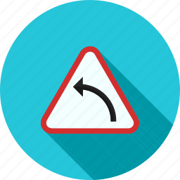 arrow, curve, hazard, highway, left, safety, sign icon