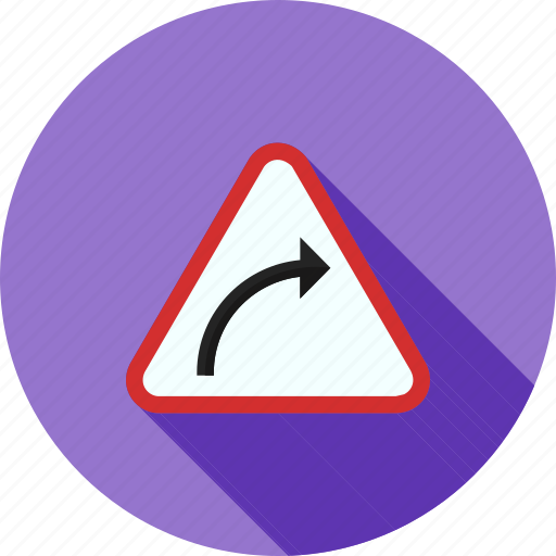 arrow, curve, hazard, highway, right, safety, sign icon