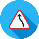 bend, danger, left, road, sign, traffic, transportation icon