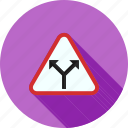 ahead, intersection, road, sign, traffic, warning, y icon