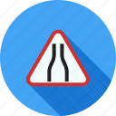 merge, narrow, road, safety, sign, traffic, warning icon